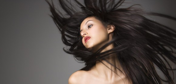 Woman flinging her hair